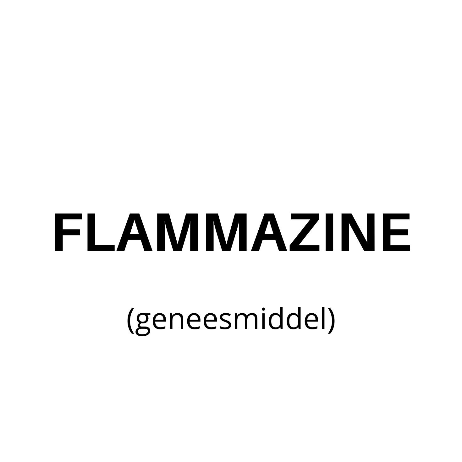 Zwart lettertype met in blokletters Flammazine (geneesmiddel) geschreven op een witte achtergrond.